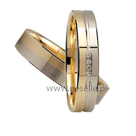 Ciekawe obrączki ślubne, dwukolorowe złoto, cyrkonie lub brylanty GRAWER W PREZENCIE | OBRĄCZKI ŚLUBNE \ Dwukolorowe złoto od GESELLE Jubiler