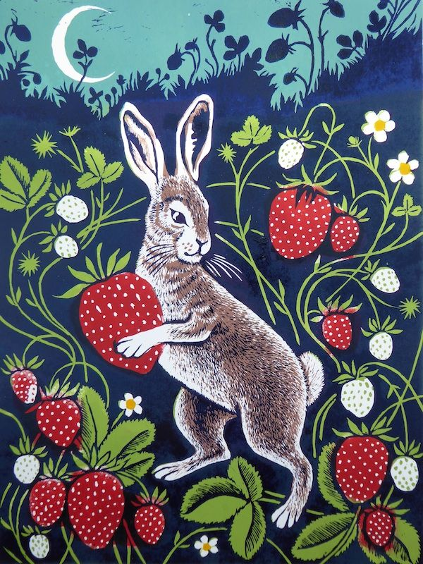 The Strawberry Thief  -  Lino Print - Teresa Winchester