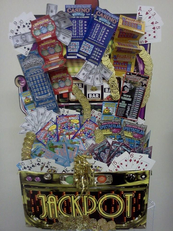 "JackPot!  This is our Best Seller  ""Great for Fundraisers....  This customized Lottery Scratch off basket stand 3ft High Full of Surprises and Scratch-off.  Email: theresagift@aol.com for your order today we ship anywhere in the US"