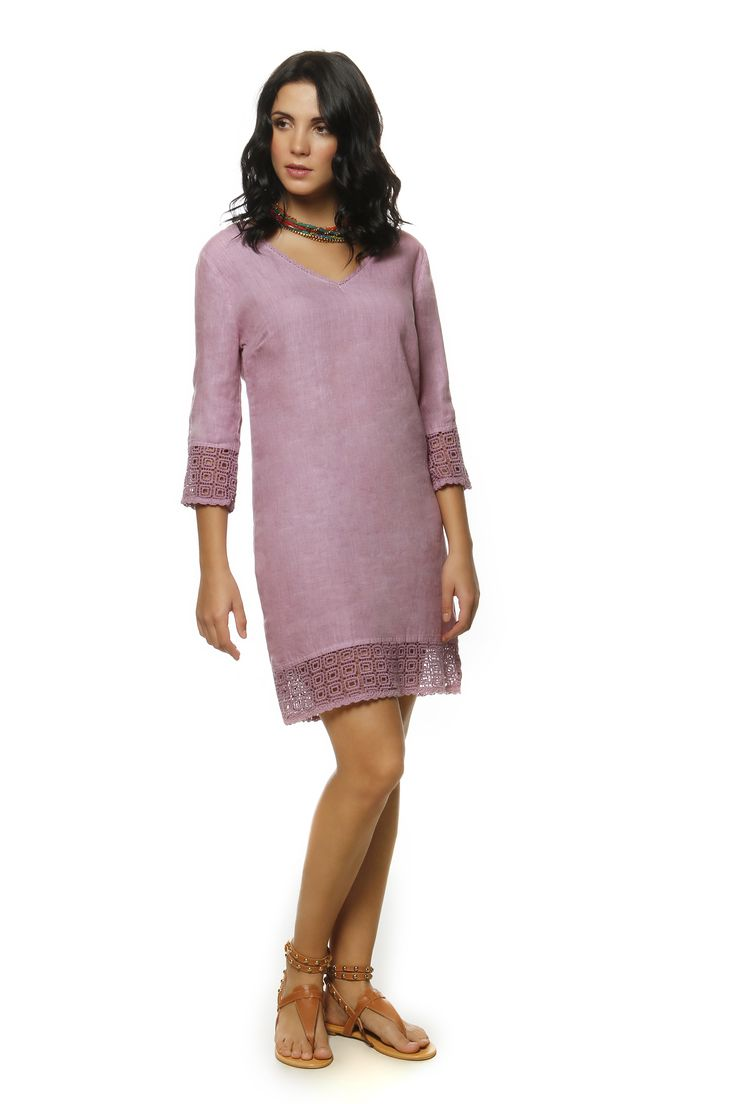 Linen Dress with Cotton Lace 1355 http://eshop.hariscotton.gr/