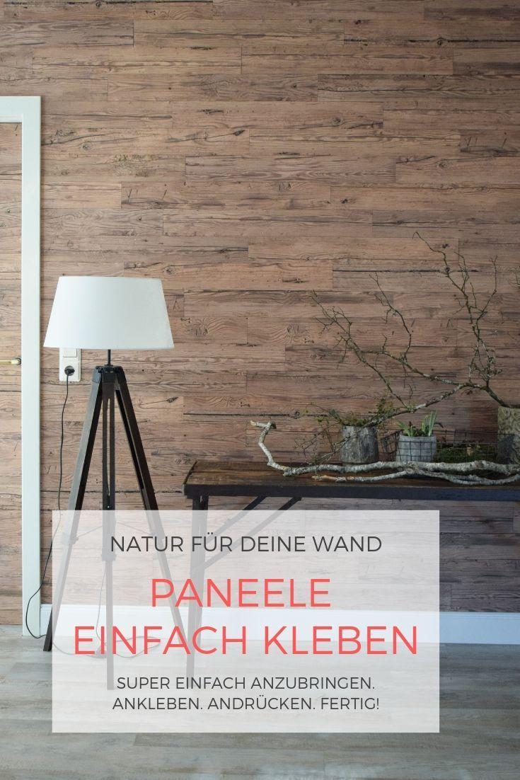 Holzverkleidung Fur Die Wand Mit Selbstklebenden Paneelen Einfach Kleben Holz Holz Ideen Holzverkleidung Holzwand Wandpaneele Holz