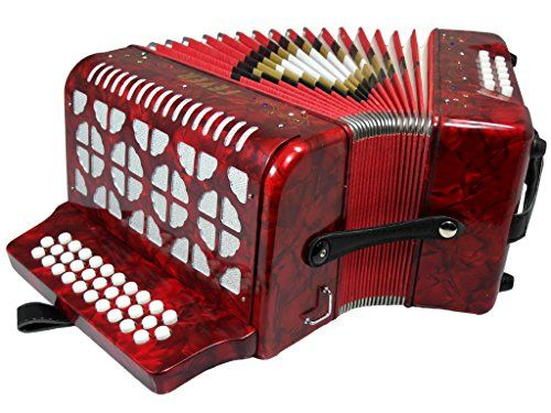 Fever F3112-RD Button Accordion with 31 Keys and 12 Bass on GCF Key, Red