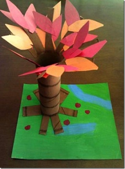 fun fall craft with paper towel roll.- I am going to do this with girls, but with real leaves that they collect : )