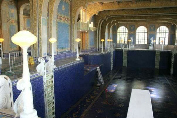 The Roman pool at Hearst castle. Looks creepy! Yup, empty ...