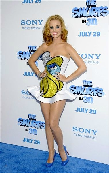 "Katy nearly slipped into character at the ""Smurfs"" premiere in New York on July 24, 2011."