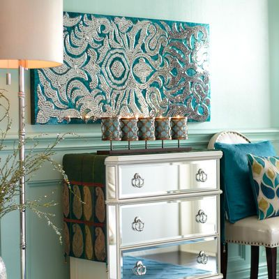 Mirrored Damask Panel - Teal // this set up is OVER DONE (really bad design but the panel is gorgeous// i just got this for Christmas and i luv it, however i thought it would work behind my sofa but it just isn't large enough