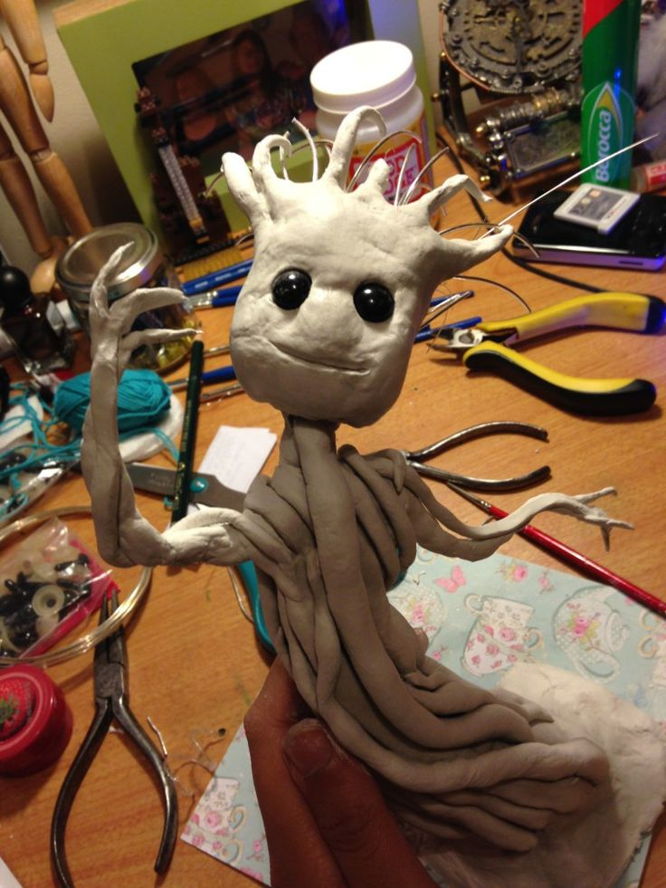 How to Make a Groot Figurine from Clay #Groot #GuardiansOfTheGalaxy #ModelMaking