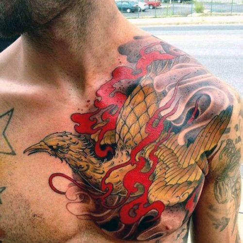 Phoenix Chest Tattoos For Guys
