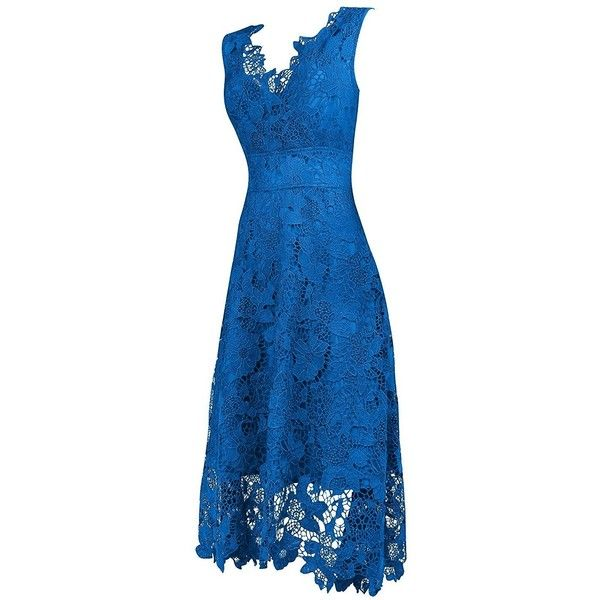 KIMILILY Women's V neck Elegant Floral Lace Swing Bridesmaid Dress ❤ liked on Polyvore featuring dresses, v neck dress, floral printed dress, bridesmaid dresses, blue bridesmaid dresses and floral print bridesmaid dresses