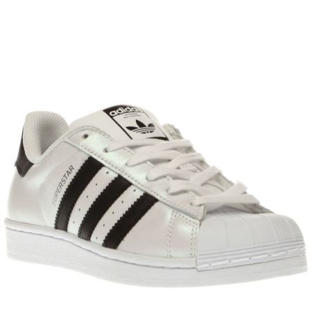 womens adidas white & black superstar trainers
