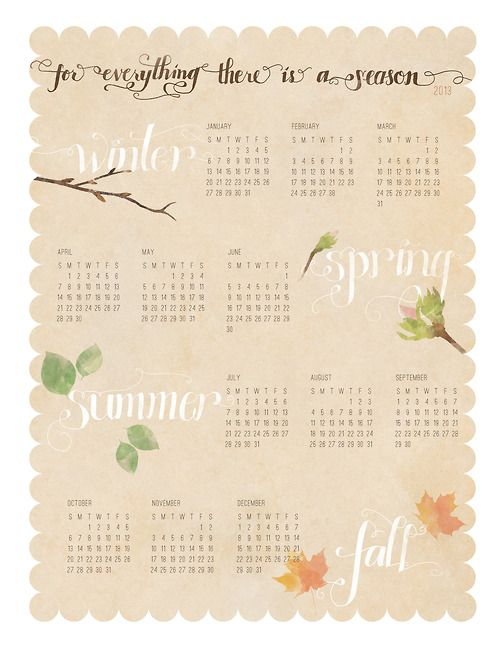 Happy New Year!  An 8.5 x 11 printable calendar, from me to you.
