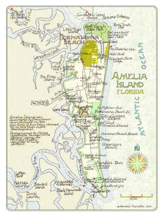 Amelia Island Florida 12x16 by NeoClassicalMaps on Etsy, $25.00