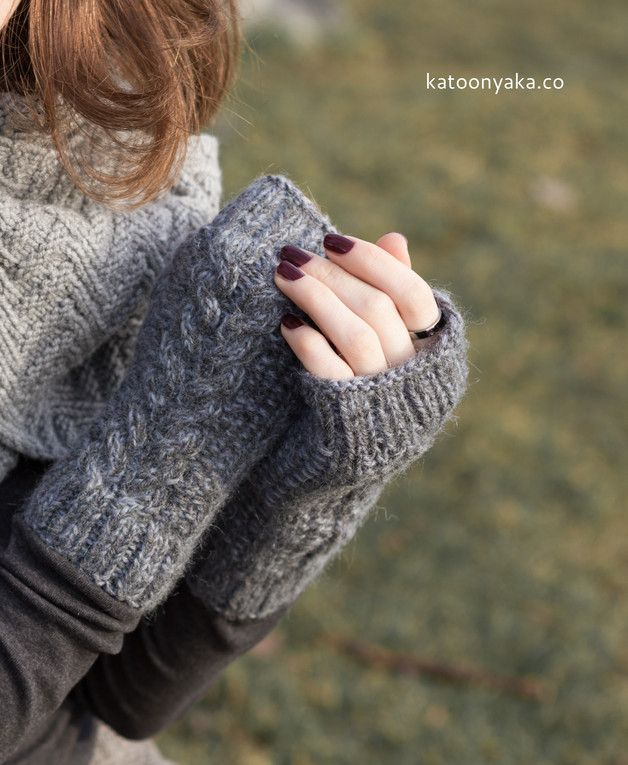 Arm warmers – Melange grey gothic knitted wrist warmers – a unique product by katoonyaka on DaWanda
