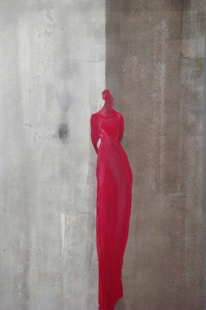 ' Lady in red' oil on acrylic on canvas. By Tahmina Stenevik