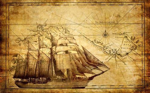 Обои Старинная карта с изображением корабля на ней