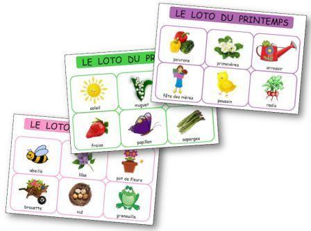 Loto du printemps maternelle Consultez: http://dessinemoiunehistoire.net/wp-content/uploads/2015/03/Loto-du-printemps.pdf