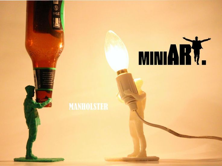 MiniART beings are miniature people and animals turned into functional and artistic objects. The MANHOLSTER is a 27 year old bearded man who goes by the name Fotios. He has been created to hold your beer bottles, act as a very masculine looking night light or hold your mobile phone.    Treat the MANHOLSTER with care and in return he will look after all your valuables as well as providing unlimited free hugs.   Upcycle your old lamps and beer bottles - give them to The MANHOLSTER.   The file…