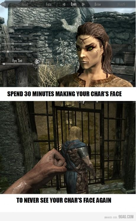 Or if you're like me, I'd occasionally switch to 3rd person mode and dramatically move the camera in front of my character's face.