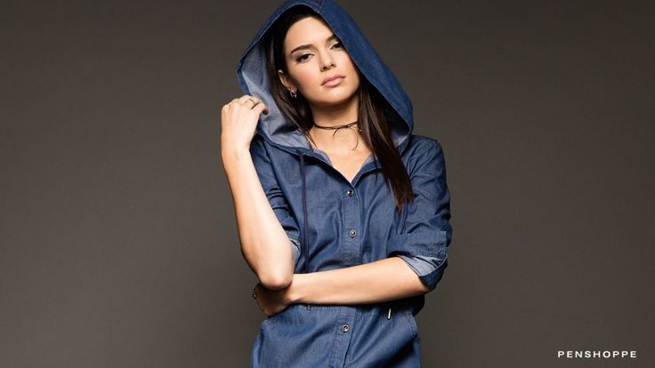 Kendall Jenner keeps it casual in a denim hoodie from Penshoppe