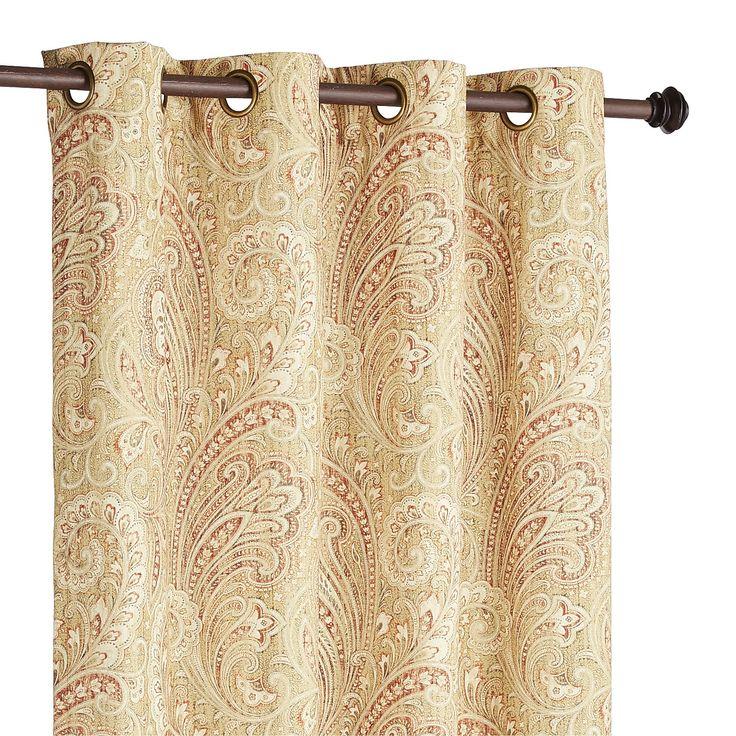 Tan Seasons Paisley Curtain - Polyester