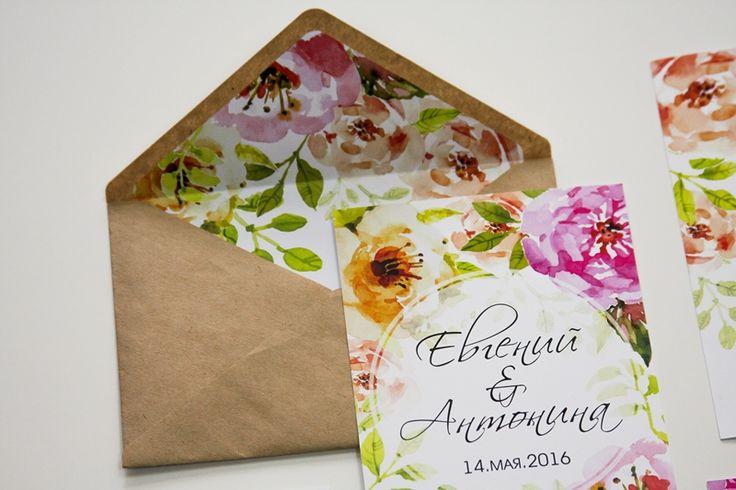 Свадебные приглашения Цветочная акварель