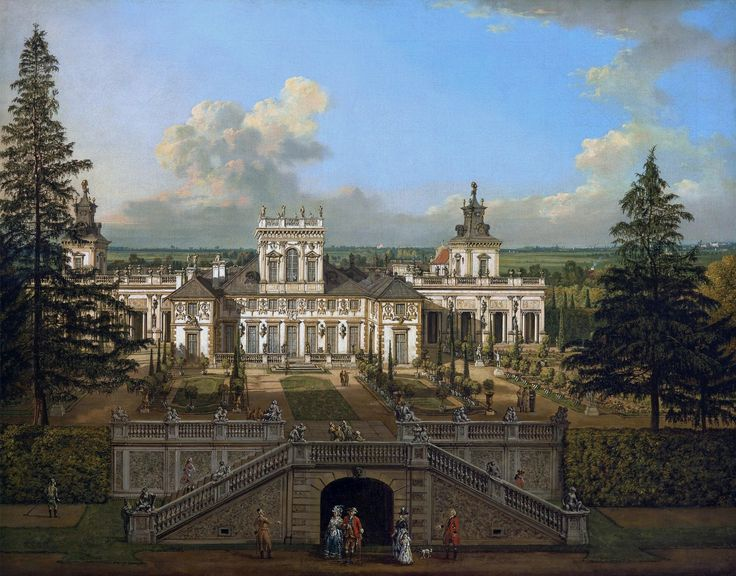 "Wilanów Palace as seen from the garden by Bernardo Bellotto, 1776 (PD-art/old), Zamek Królewski w Warszawie (ZKW), commissioned by Stanislaus Augustus, after 1771 the palace was owned by King's cousin Izabela Lubomirska ""The Blue Marquise"""