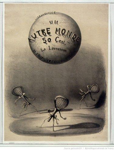 JJ Grandville , Affiche publicitaire pour Un autre monde, lithographie, 1843, BNF/Gallica