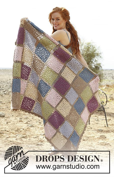 Romantic Memories / DROPS 138-32 - Crochet DROPS blanket with squares in Lima.