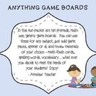 In this fun packet are ten premade, multiuse, generic game boards. You can use these for any subject, just add game pieces, spinner or di, and review materials of your choice—math flash cards,, spelling words, vocabulary… what ever you decide to meet the needs of your students! I use them for my Daily Five Word Work activities! Enjoy! *Gameboard designs include cupcakes, beach themed, space, stars, fire crackers, and clouds.
