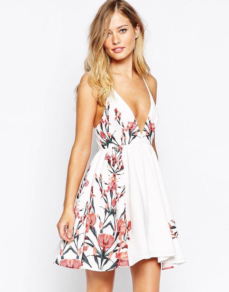 Stylestalker Auspicious Plunge Neck Dress In Print