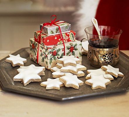 Zimtsterne (Cinnamon stars). Edd Kimber creates a version of these German spiced cookies- they're chewy, crisp and similar to an almond macaroon
