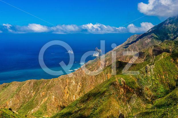 Qdiz Stock Photos | Atlantic ocean coast or shore,  #Atlantic #blue #Canary #cloud #coast #day #green #horizon #island #landscape #mountain #nature #ocean #rock #scenic #sea #shore #sky #skyline #Spain #summer #Tenerife #view