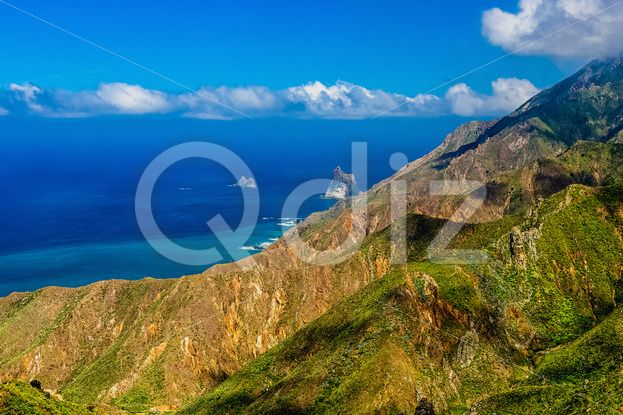Qdiz Stock Photos | Atlantic ocean coast or shore,  #Atlantic #blue #Canary #cloud #coast #day #green #horizon #island #landscape #mountain #nature #ocean #rock #scenic #sea #shore #sky #skyline #Spain #summer #Tenerife #view