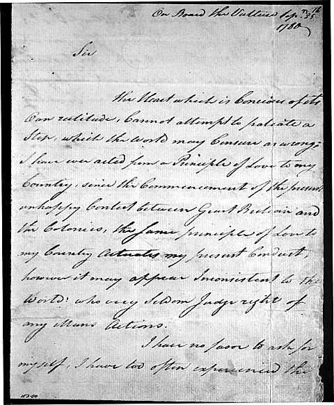 Letter from Benedict Arnold to George Washington pleading for mercy for his wife, 25 September 1780. (Library of Congress)