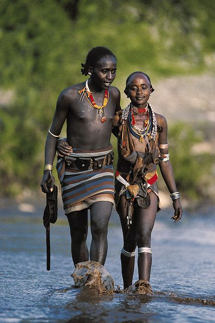 Ethiopia. Hamar couple, Hamar tribe lives at the left bank of the Omo River in the Southern region