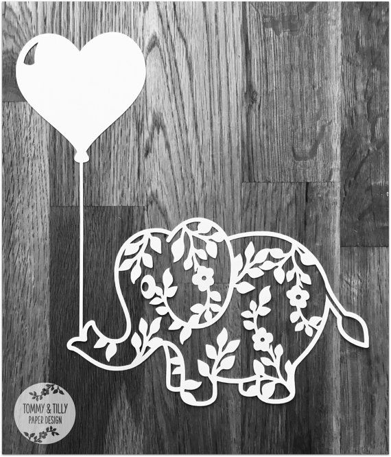 Flower Elephant with Heart Balloon SVG PDF Design - Papercutting Vinyl Template  -  nursery papercut - new baby papercut