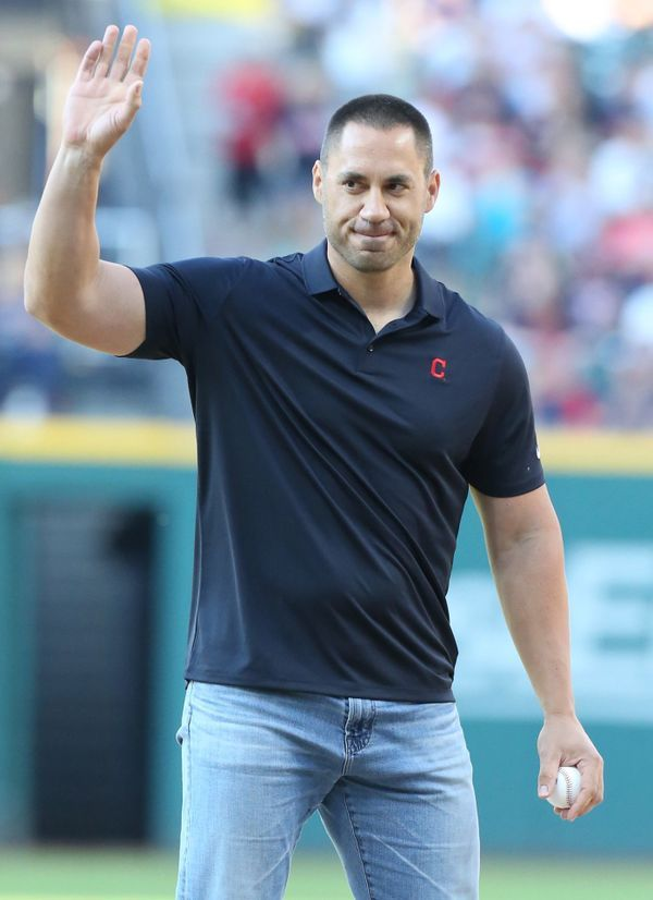 Former Cleveland Indians player Travis Hafner throws out the ceremonial first pitcher before the Indians game against the Detroit Tigers, July 8, 2017, at Progressive Field. Love Hafner.