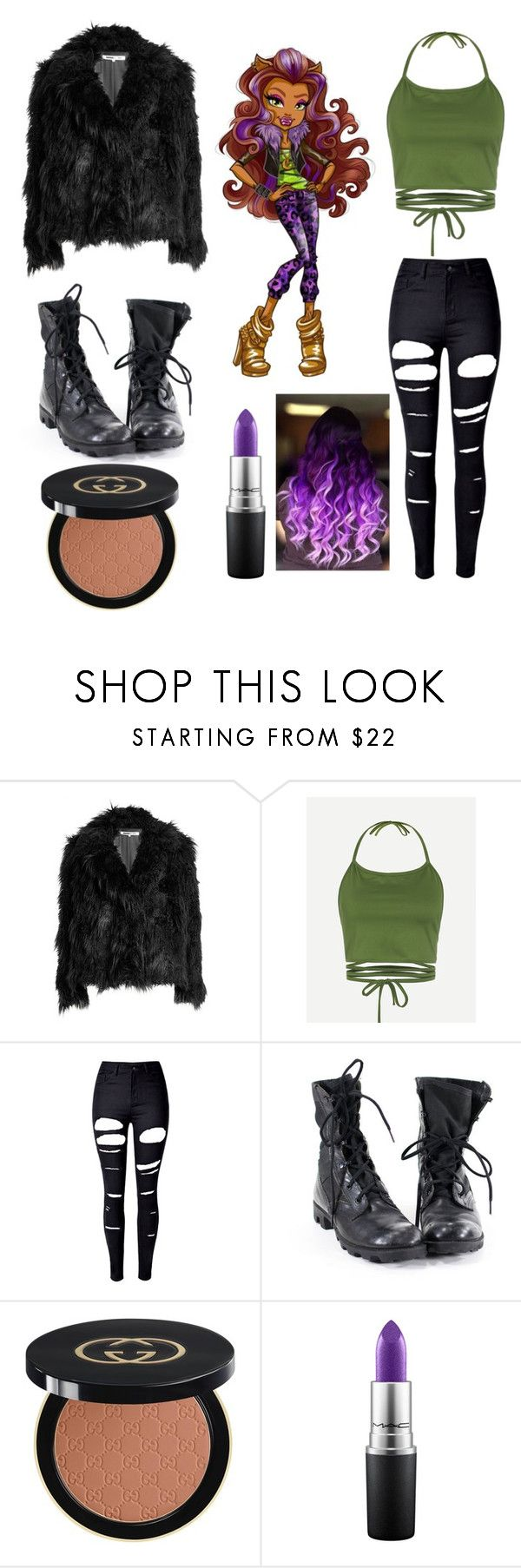 """Monster High Clawdeen"" by tanjiajun ❤ liked on Polyvore featuring McQ by Alexander McQueen, WithChic, Gucci and MAC Cosmetics"
