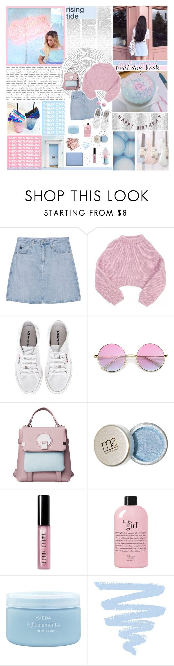 """""""steph's birthday book! {rtd}"""" by ecclxsiastes ❤ liked on Polyvore featuring GET LOST, AG Adriano Goldschmied, Lala Berlin, Superga, Bobbi Brown Cosmetics, philosophy, Aveda and 214"""