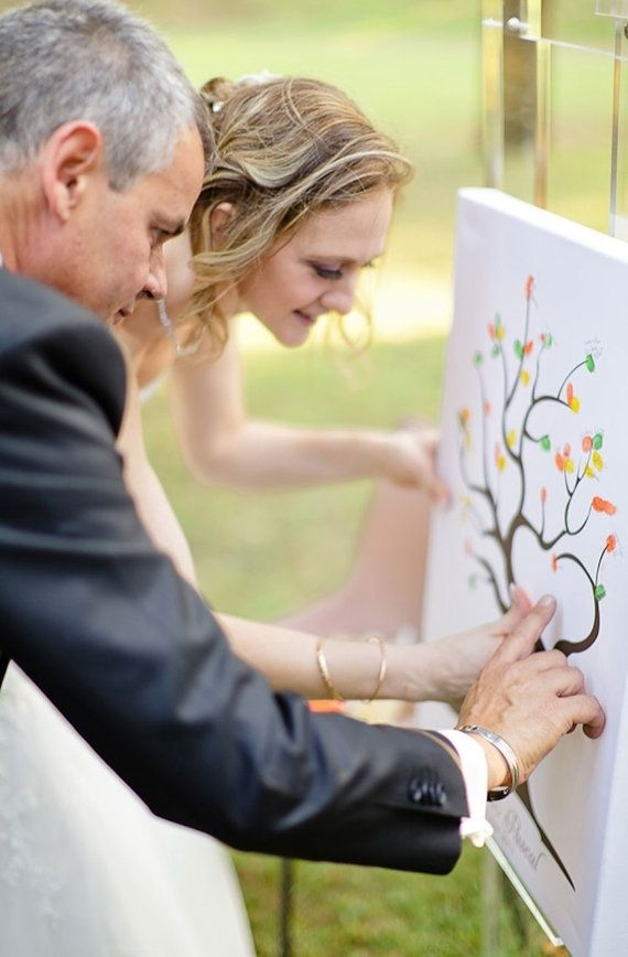 Thumb prints of each guest and bride and groom at your wedding ti make a canvas you can keep. Fun for children and adults alike!