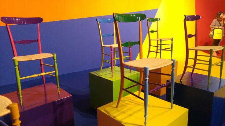 Fratelli Levaggi, the power of colorful chairs!  #SuperstudioPiù #MCaroundSaloni #iSaloni #milanoDesignWeek #mdw #Tortona