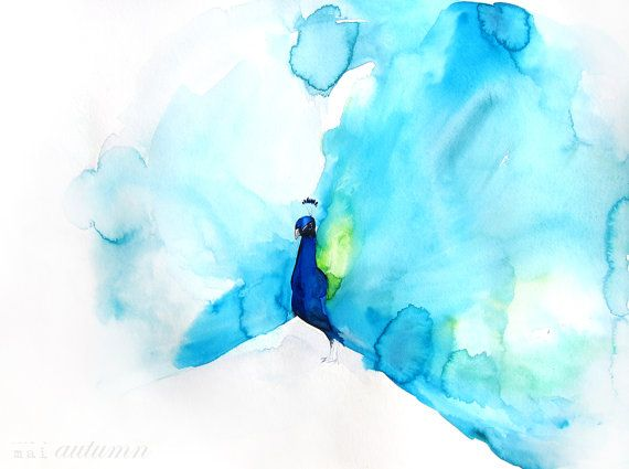35% Off Sale - Watercolor Painting - Peacock Painting - Feather - Bird Wall Decor Watercolor - Peacock III - Large Print 20x30 - Poster