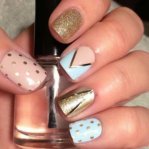 383 best summer nail art designs ideas images on pinterest 20 pink gold and blue nail design for beach prinsesfo Choice Image