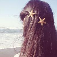 Starfish Hair Clips - Set of Two - Natural Beach Boho Cute Adorable Romantic Whimsical Dreamy Sea Stars Summer Fashion - Mermaid Collection