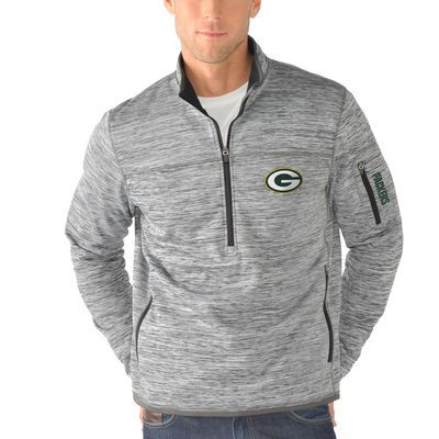 Men's Green Bay Packers G-III Sports by Carl Banks Heathered Gray Fast Pace Half-Zip Jacket