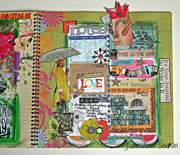 Art Journaling 102: Focus on Hybrid on the Studio Tangie Blog. Page by Julie Ann Shahin