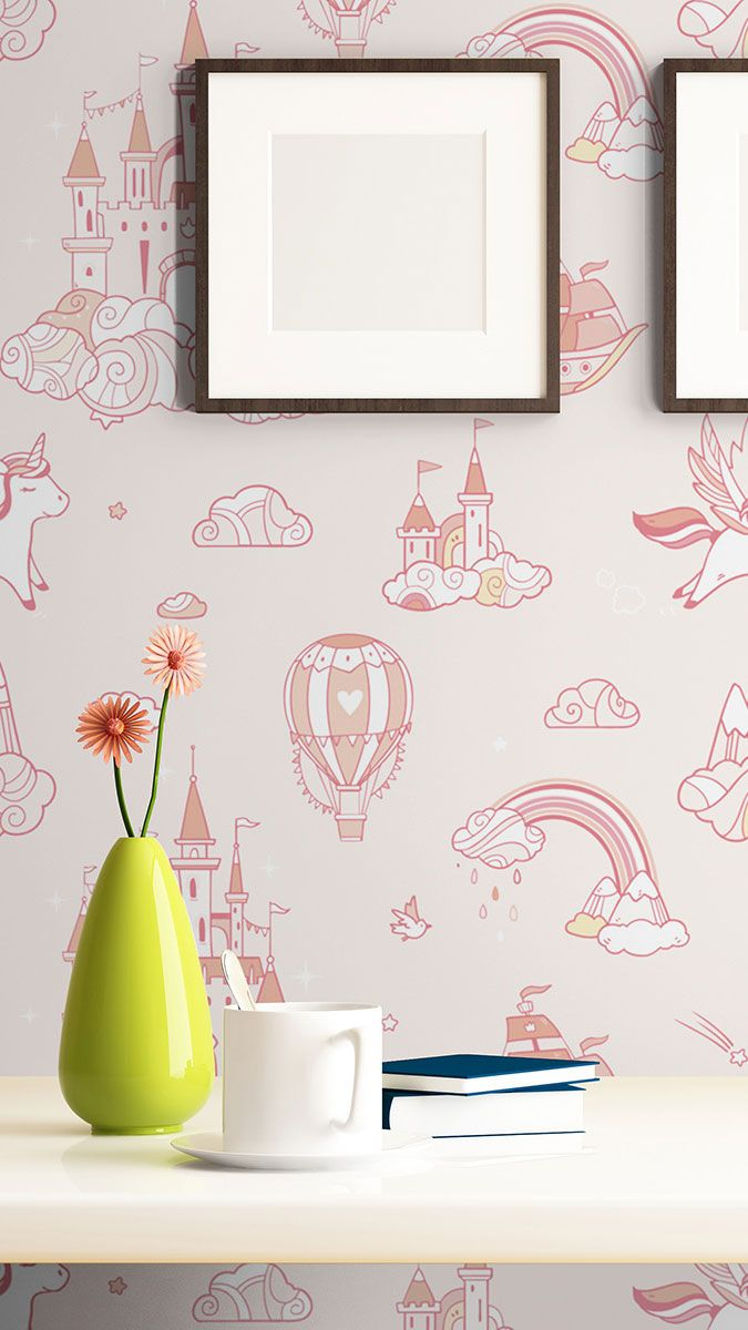 Pink Fantasy Baby Peel And Stick Removable Wallpaper 9668 Pink Girl Room Decor Peel And Stick Wallpaper Removable Wallpaper