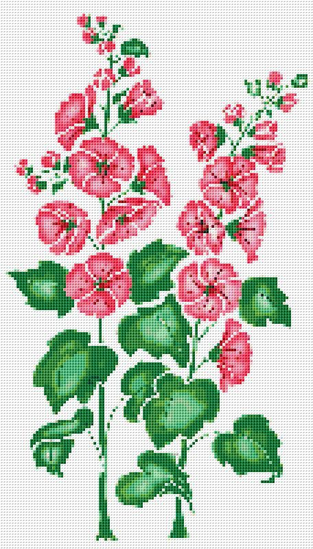 Pink Hollyhock Counted Cross Stitch Pattern by xstitchpatterns