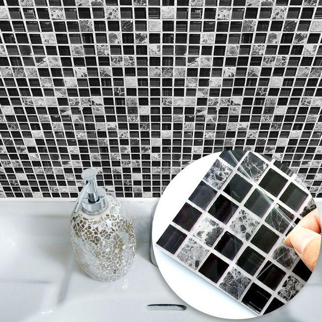 Funlife Black Marble Mosaic Tile Sticker Wall Sticker Furniture Decal Waterproof Self Adhesive Mosaic Tile Stickers Bathroom Wall Tile Self Adhesive Wall Tiles