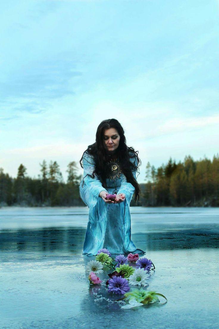 Solstice - Photographer: Ann-Jorunn Aune,  Model: Ellen Laugen Vestnes. On a frozen lake in Norway.